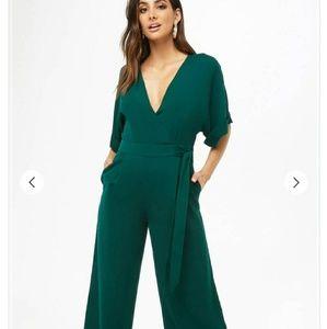Pants - Surplice Wide-Leg Jumpsuit